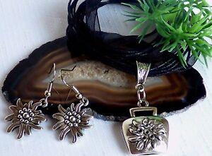 Kuhglocke-Edelweiss-Halskette-Ohrringe-Set-Organza-Kette-Schwarz-Silber