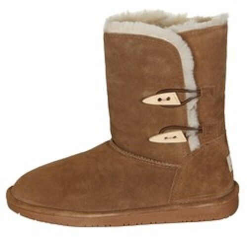 BEARPAW Abigail Brown Women's Winter Boots Leather Wool Insulated Toggle NEW