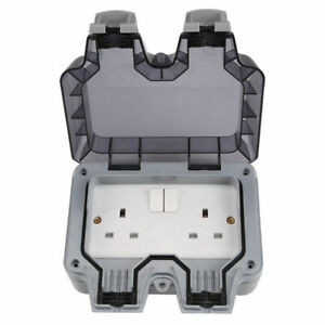 Resistente-A-La-Intemperie-Exterior-13A-2-Gang-doble-conmutado-doble-socket-IP66-WP22-exterior