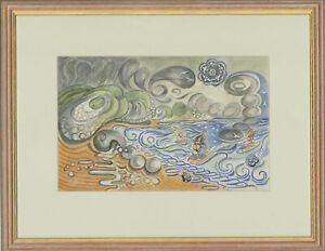 Edward-Morgan-1933-2009-Signed-amp-Framed-Watercolour-Surfing-in-Wales