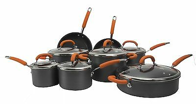 NEW Rachael Ray 14-Piece Hard Anodized Cookware Set Nonstick Pots Pans Orange