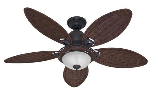 HUNTER 54 CARIBBEAN TROPICAL WEATHERED BRONZE WICKER Ceiling Fan