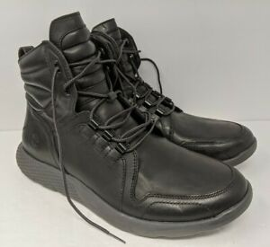 Neuf-HOMME-Timberland-Flyroam-Bottes-Cuir-Noir-a-Lacets-A1J1A-Taille-8-5