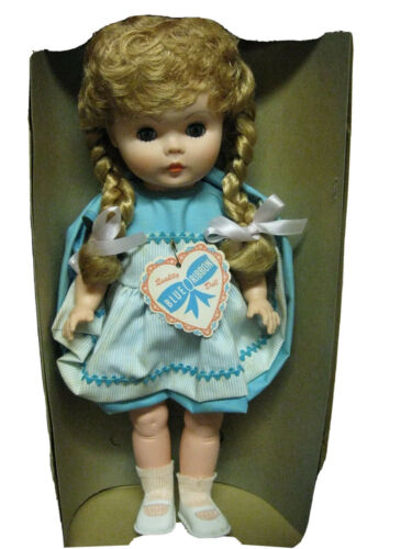"""Details about  /Vintage 1960 Blue Ribbon Novelty Vinyl Blonde Braided Hair Jointed Doll Mint 16/"""""""