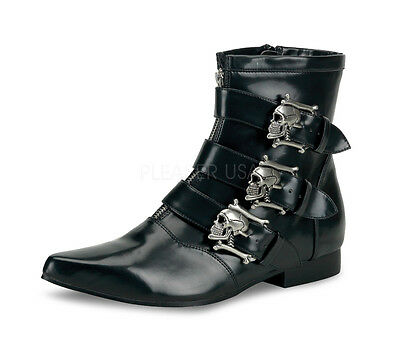 Demonia Brogue 06 Black Winklepicker Beatle Chelsea 3 Skull Zip Mens Ankle Boots