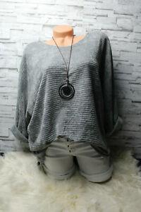 Italy-Pulli-Pullover-Gr-36-38-40-42-Oversized-grau-Shirt-weich-blogger-NEU
