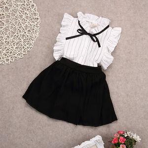ebb6bdddb95 2PCS Set Girls Dress Kids Baby Toddler Tops+Skirt Shorts Outfits ...