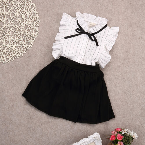 2PCS Toddler Kids Baby Girls Summer Clothes Tops+Shorts Skirt Outfits US Stock