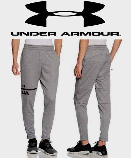 6b3c42e03a57 UA Under Armour Mens French Terry Fitted Tapered Pants 2XL -XXL- Grey  1306447035
