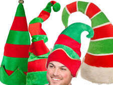 ADULT GIANT ELF RED GREEN HAT CHRISTMAS SPARKLY XMAS FUNKY NOVELTY FANCY DRESS
