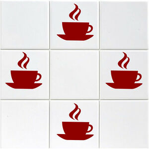 12 x Coffee Cup Tile / Mirror / Window Stickers - Kitchen, Cafe, Shop Stickers