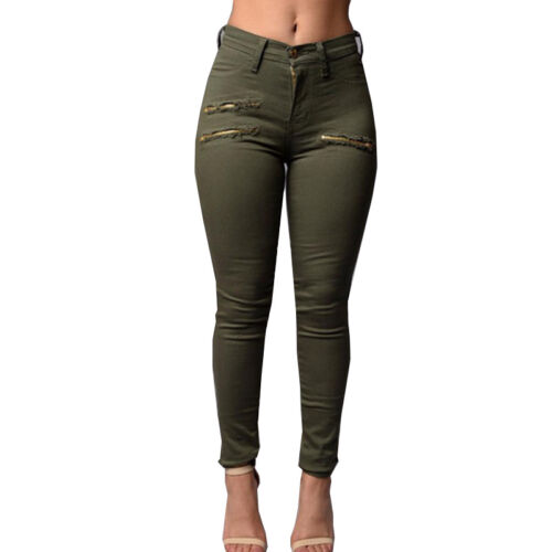 Damen Stretch Hose Jeans Look Röhre Jeggings Treggings Skinny Leggings Stoffhose