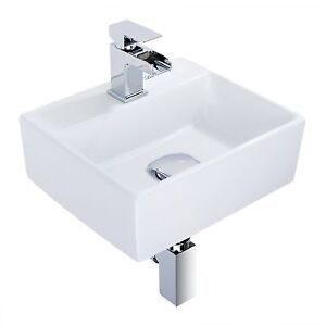 Modern Square Ceramic Small Compact Cloakroom Basin Wall Hung