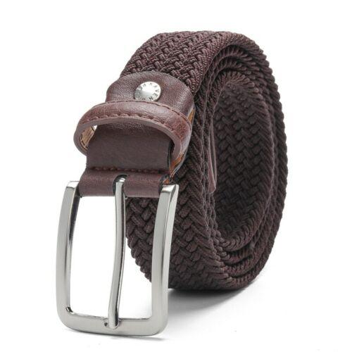 Women Men New Braided Elastic Stretch Woven Cotton Canvas Leather Waist Belt