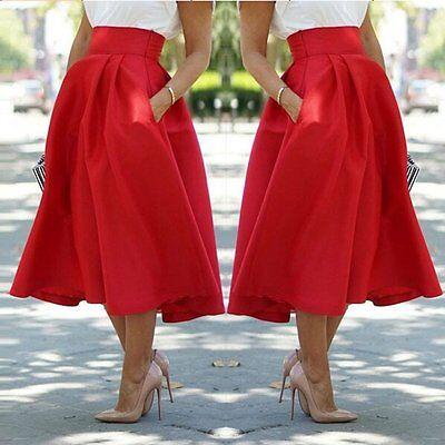 Vintage Women Stretch High Waist Skater Flared Pleated Swing Long Skirt Dress