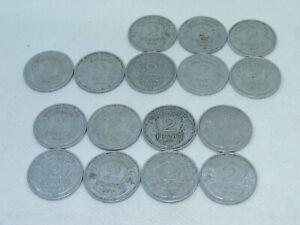 Serie de 16 pieces 2 Francs Alu MORLON 1941 à 1959 toutes differentes