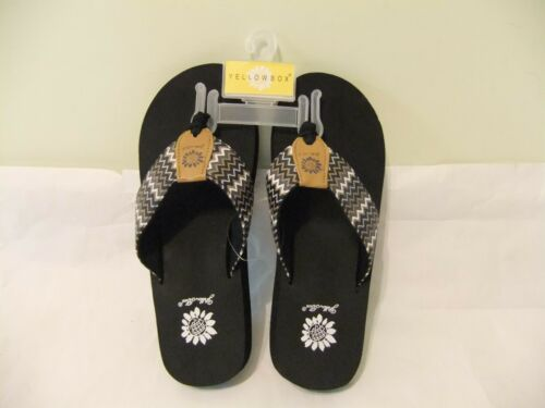 YELLOW BOX Paige Black White Brown Gray Zig Zag Flip Flop Sandal Comfort SZ 6