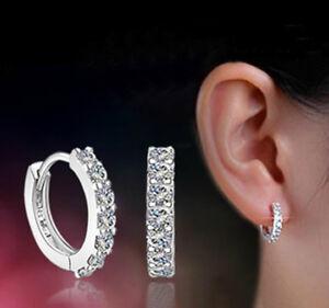 Image Is Loading 925 Sterling Silver Cz Huggie Hoop Earrings Us