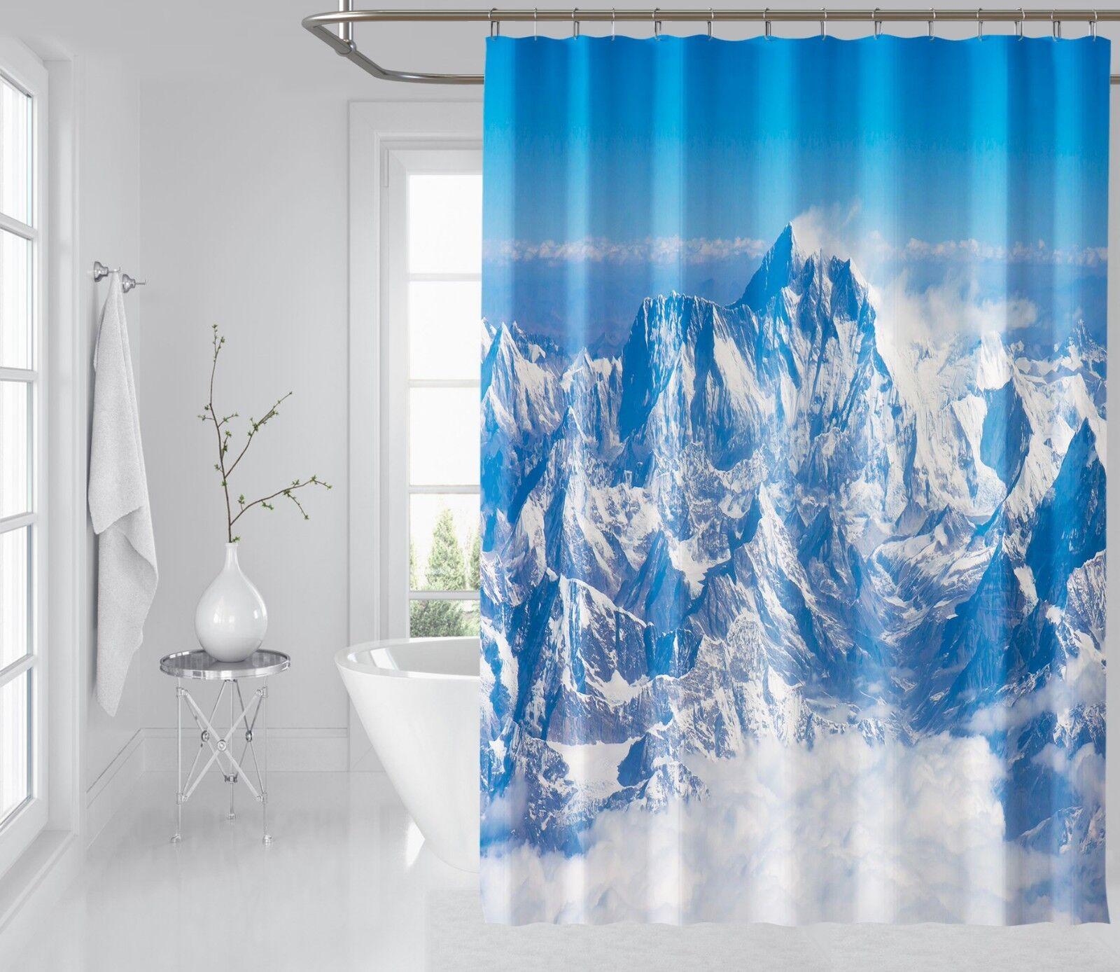 3D Schnee Berg 8 Duschvorhang Wasserdicht Faser Bad Daheim Windows Toilette DE | Niedriger Preis und gute Qualität