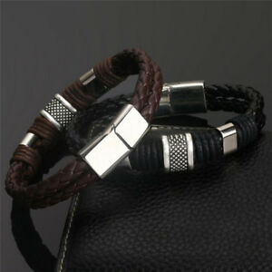 Mens-man-boys-Leather-Braided-Wristband-Bracelet-Stainless-Steel-titanium-Clasp