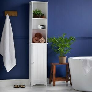 Tall-Bathroom-Storage-Unit-Cabinet-White-Shelves-Drawer-Wooden-Standing-Drawers