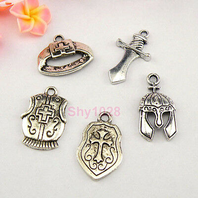 Tibetan Silver Knight Armament Charms Pendants 5Styles-1 Or Mixed FB-1