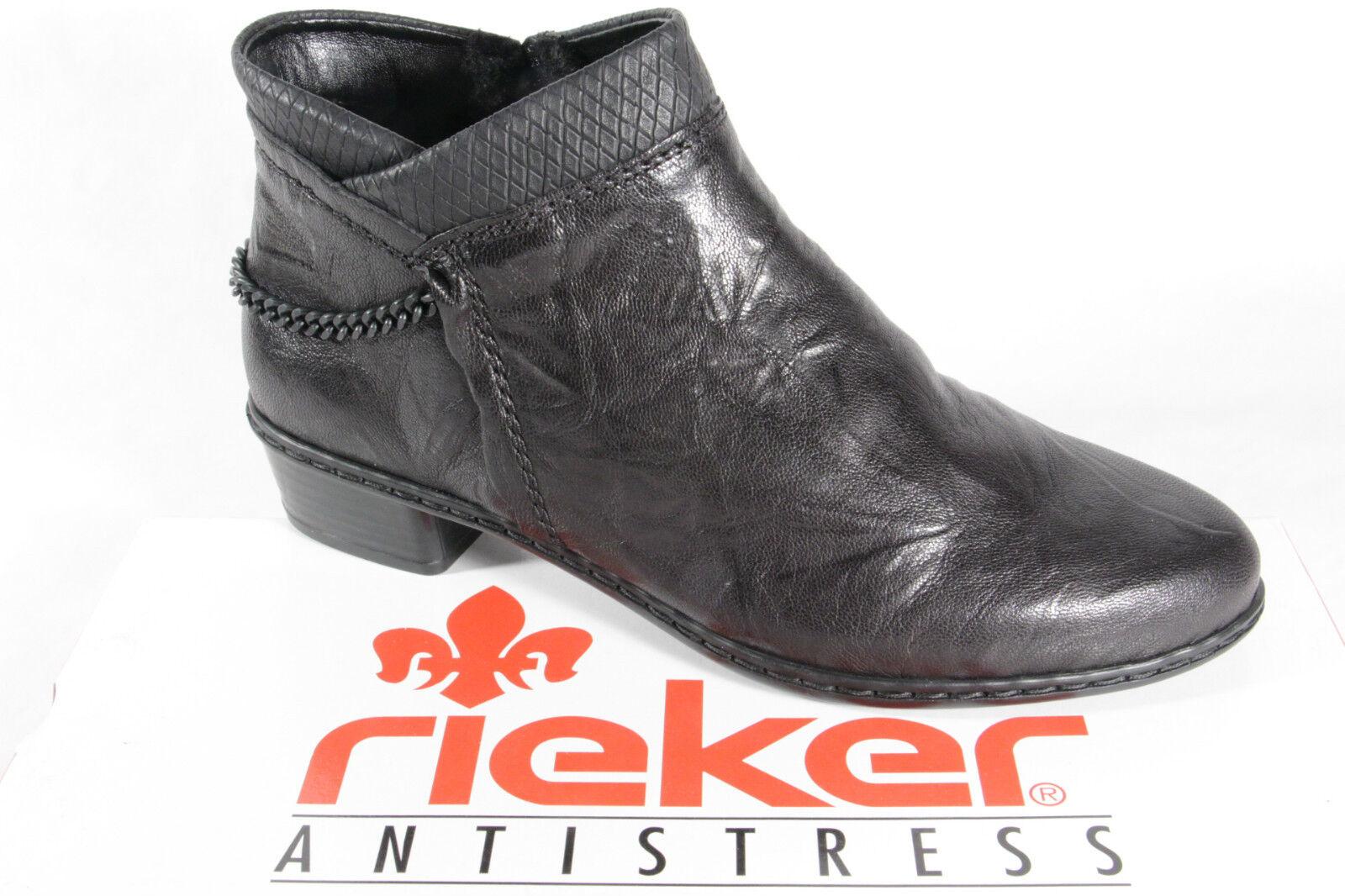 Rieker Botines Botines Botines botas Invierno Negro, Forrado Y0780 Nuevo  moda