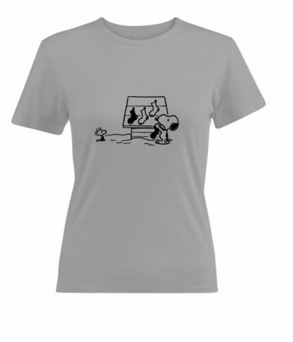 Snoopy and Woodstock Waiting the Santa Womens Juniors Top Tee T-Shirt Cotton
