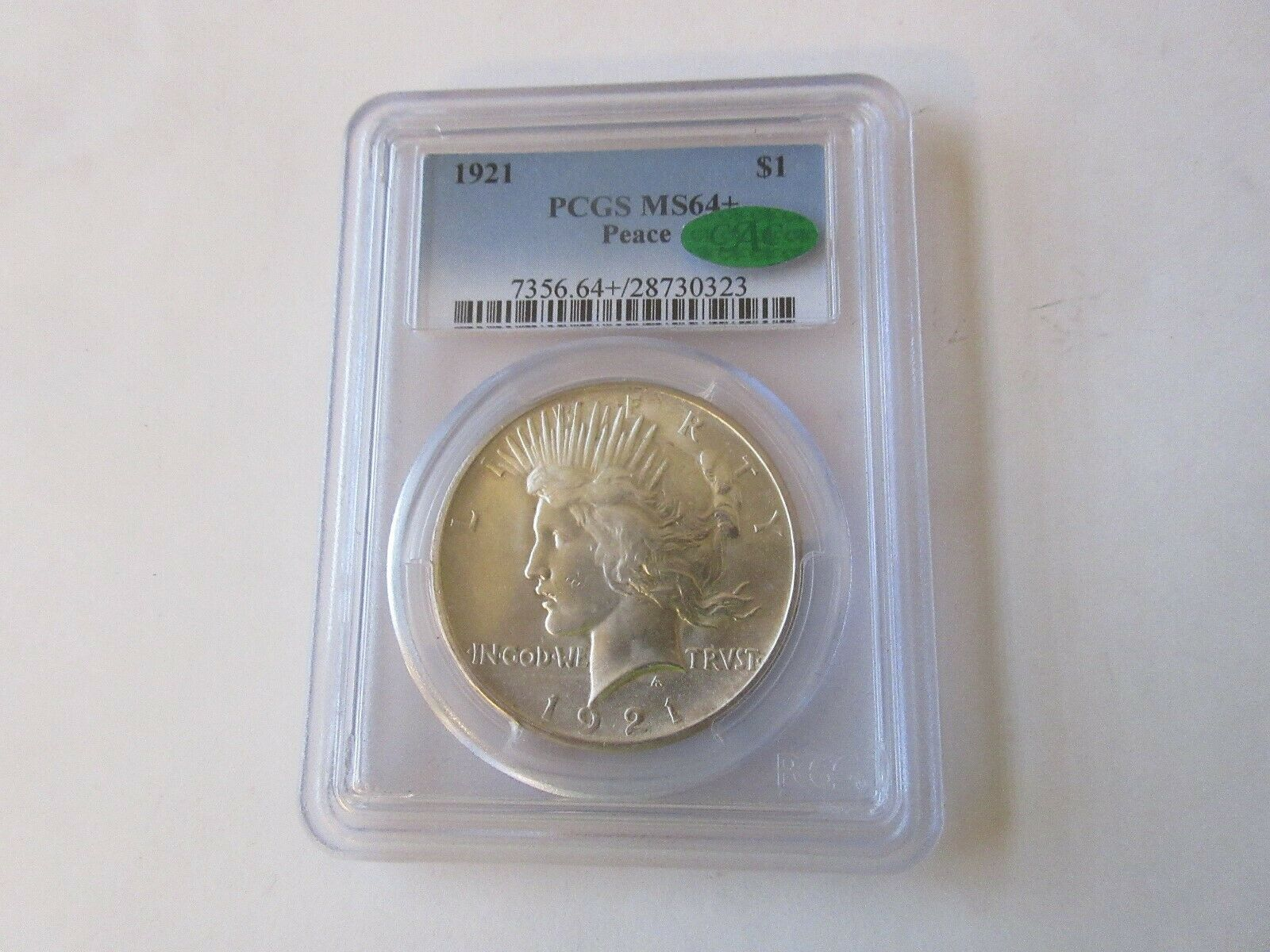 1921 Peace Dollar , MS64+ , PCGS/CAC