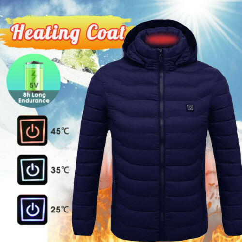 Hot Men Women Electric Heating Vest USB Hooded Heated Coat Jacket Temp US STOCK