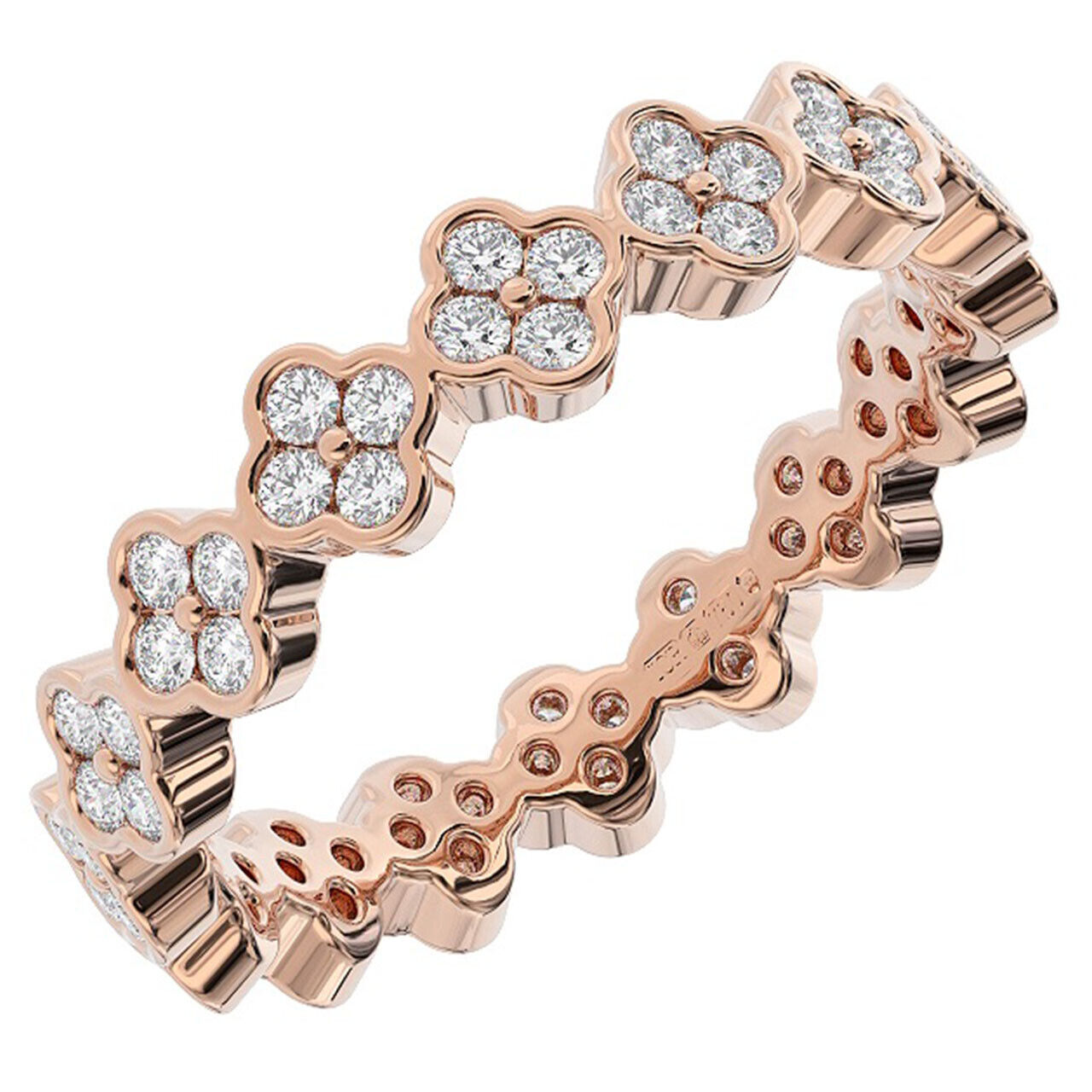 0.75 Carat Round Brilliant Cut Diamonds Full Eternity Ring in 9K pink gold