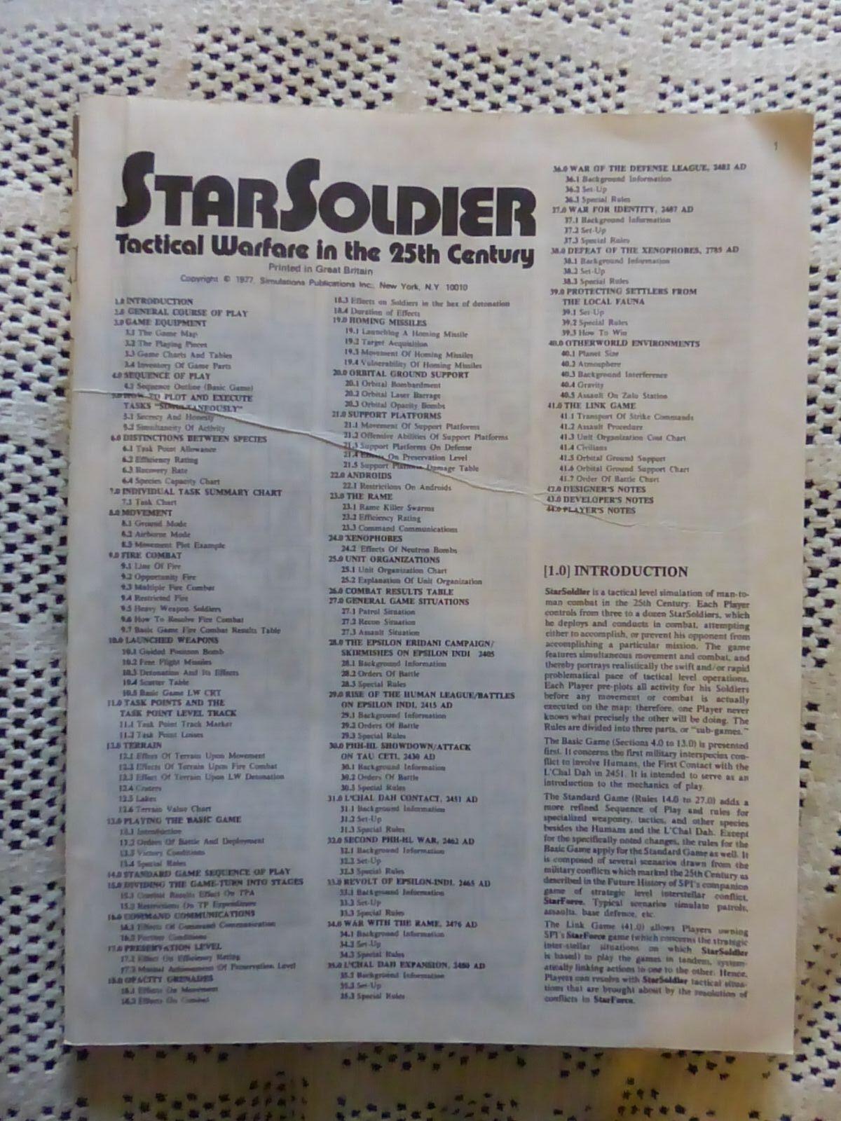 StarSoldier UNPUNCHED By SPI Scfi Game Star Soldier (No Box)