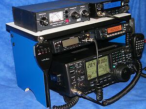 Blue Radio Bench Mount Rack Stack or Holder Kenwood Yaesu Icom Mike Antenna 7