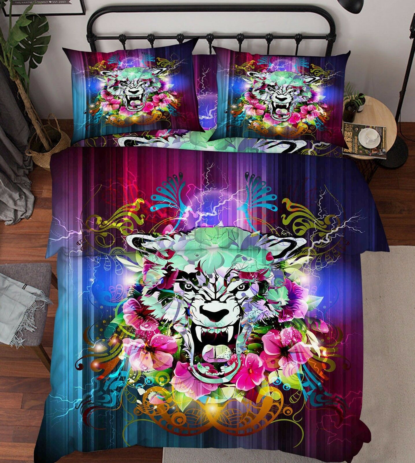 3D colord Tiger Bed Pillowcases Quilt Duvet Cover Set Single Queen King Size AU