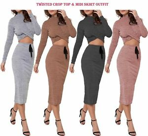 2Pcs-Women-Tracksuit-Crop-Top-Short-Skirt-Co-Ord-Set-Ladies-Bodycon-Sport-Outfit
