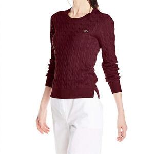 a23af3f6421 Lacoste Women's Long Sleeve Cotton Cable Knit Sweater 38/6 Bordeaux ...