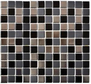 Mosaïque carreau céramique cuisine cuisine mur noir argent 18-0317_f ...