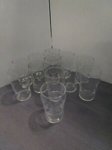Vintage-Juice-Flat-Tumbler-Glasses-Set-of-12-Clear-Libbey-HT-Star-Mark