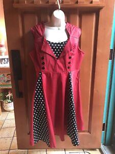 Syms Sz 3 X Cotton Red Amp Black White Polka Dot Dress