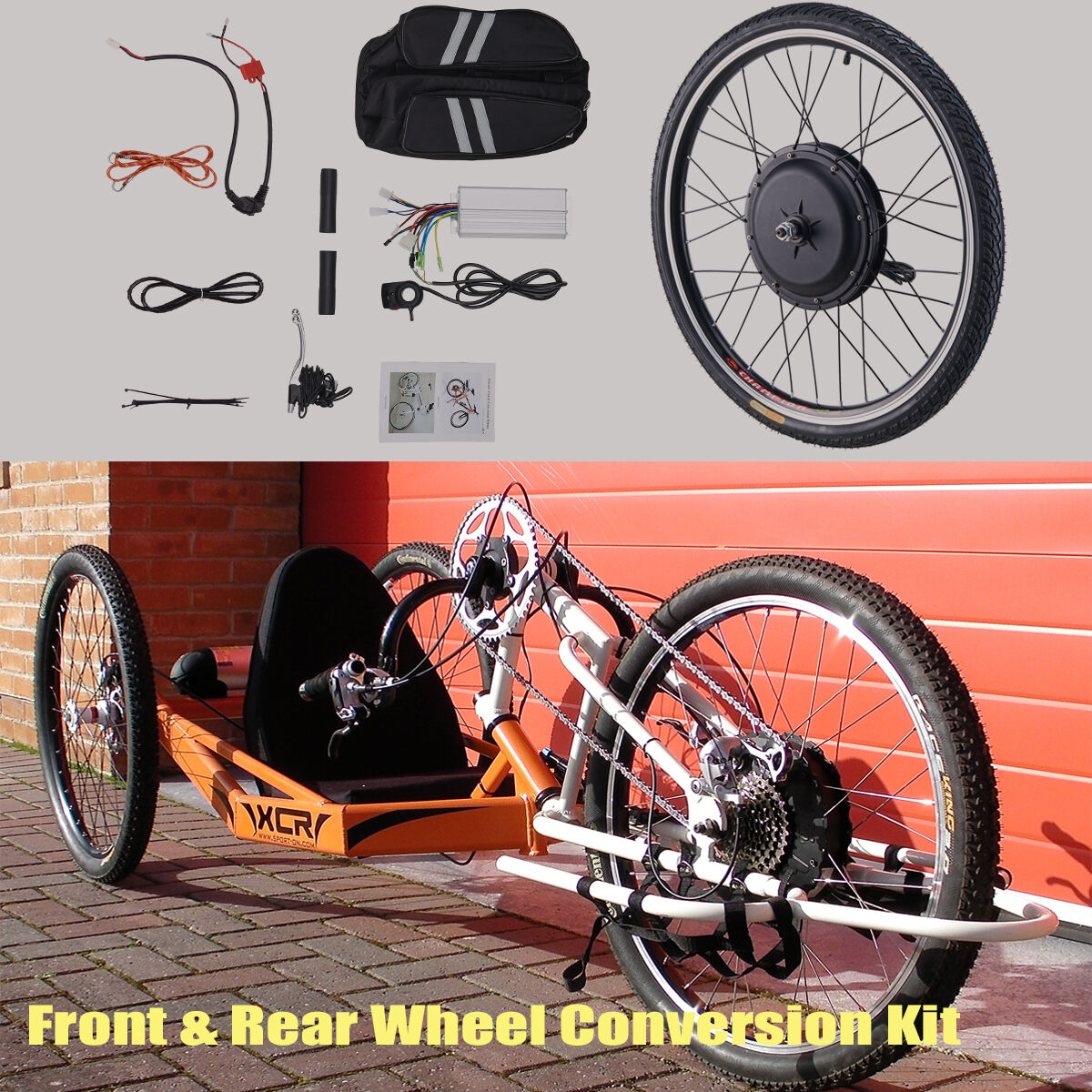 26  Front Rear 48V Electric Bicycle E-Bike Wheel Conversion Kit Cycling Motor US