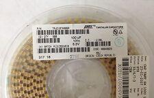 x100 **NEW** AVX, TAJD107K006R, Tantalum Capacitor, 100uF 6.3V 10%, D Case, ROHS