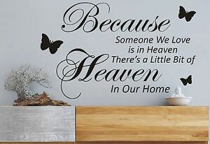 Theres A Little Bit Of Heaven Quote Wall Art Decal Sticker Diy Home