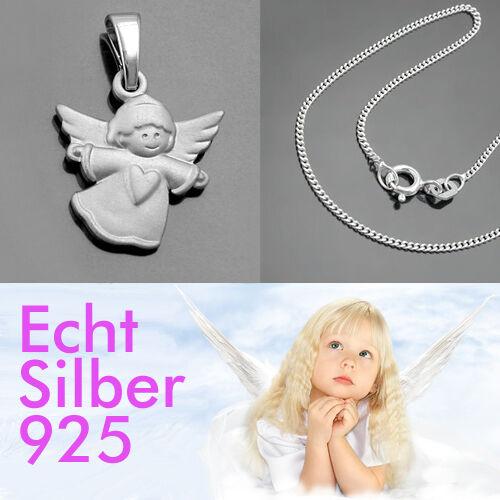 Baby Kinder Herz Schutz Engel Anhänger Echt Silber 925 rhodiniert mit Kette Neu