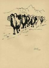 KARAWANE - CHINA - Gustav SEITZ - Original Druckgraphik um 1950