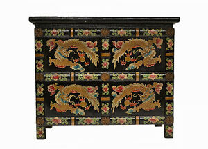 Asian-Chinese-Black-Small-Wooden-Side-End-Table-Chest-w-Painted-Dragon-Feb17-02