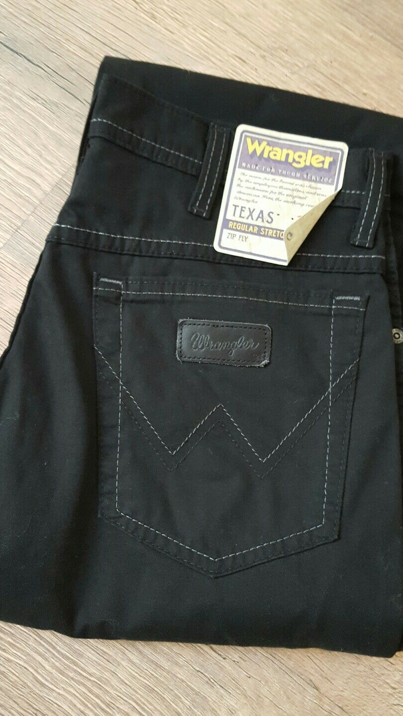 Wrangler Texas Stretch Nero Regular Fit Uomo Uomo Uomo Donna Jeans Pantaloni w32 l30 NUOVO 25205a