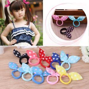 Girl Kids Rabbit Ears Polka Dot Hair Tie Ponytail Holder Bow