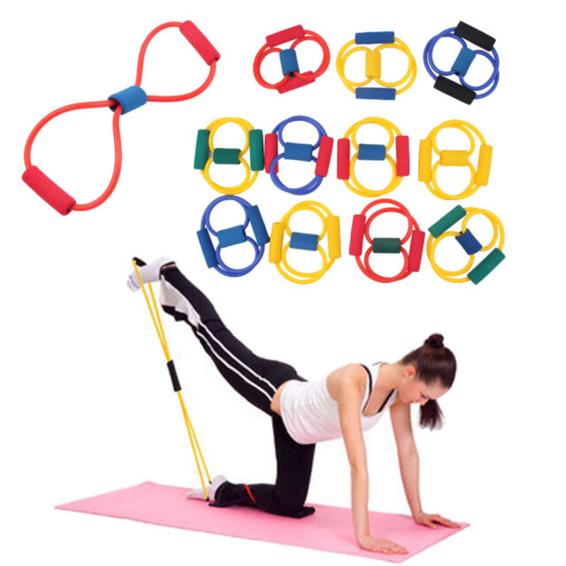 Resistance Band Yoga Pilates Abs Exercise Stretch Fitness Tube Workout Bands DG