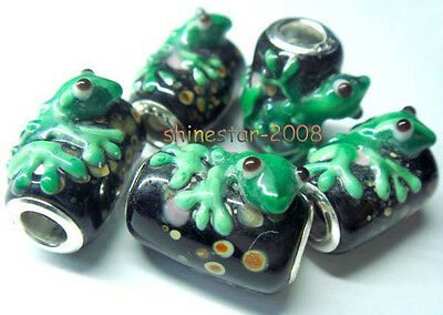 5PCS silver hallmarked Free shipping Frog Beads for Charms Bracelet DWZZXY09