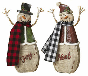 2-Pc-Resin-Christmas-Snowman-Statues-Tabletop-Figurines-Set-Holiday-Decoration